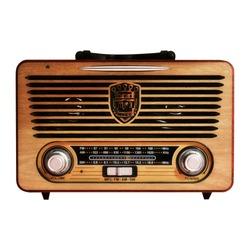 Vintage portable radio on white background.