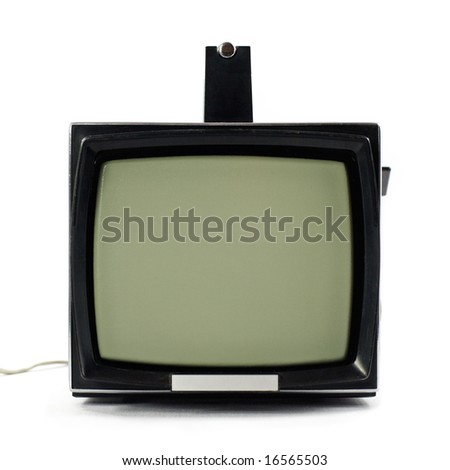 Vintage portable Television set isolated on white background