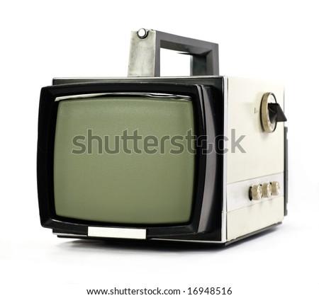 Vintage portable Television set isolated on white background