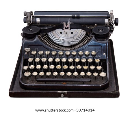 Vintage portable typewriter isolated on white