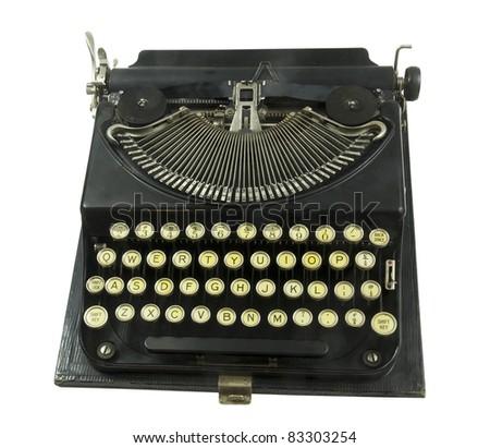 vintage portable typewriter on a white background