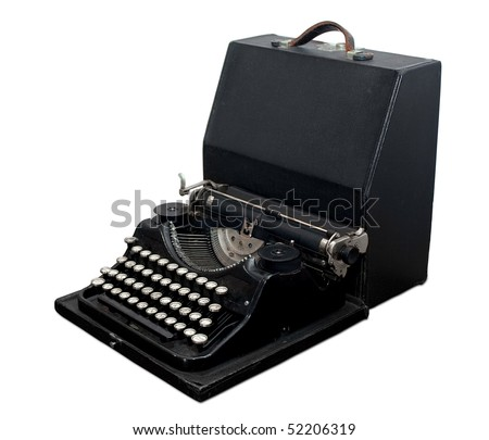 Vintage portable typewriter with case isolated on white. Clipping path included.