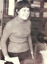 Vintage portait of a cute smiling woomen. Vintage photo. Circa 1960's: