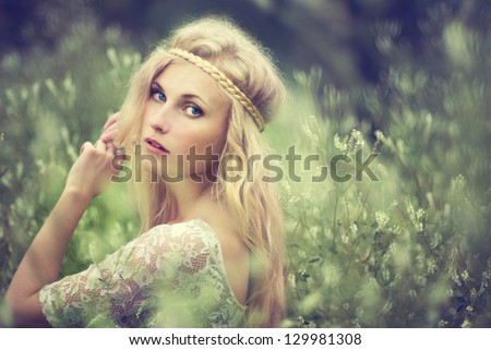 Vintage portrait of a beautiful girl in a magical place