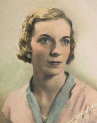 Vintage portrait of a woman on textured paper with a handwritten note to a loved one.