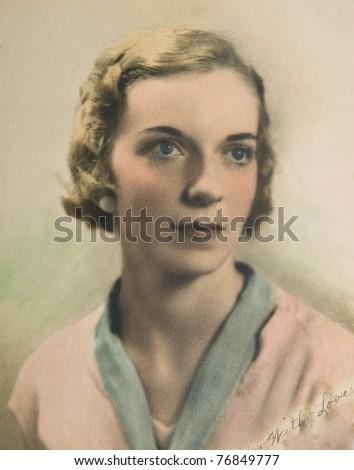 vintage portrait of a woman on...