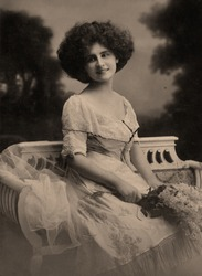 Vintage portrait of a young girl. The shot was taken around 1924 year.