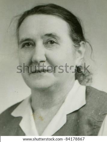 Vintage portrait of mature woman (fifties)