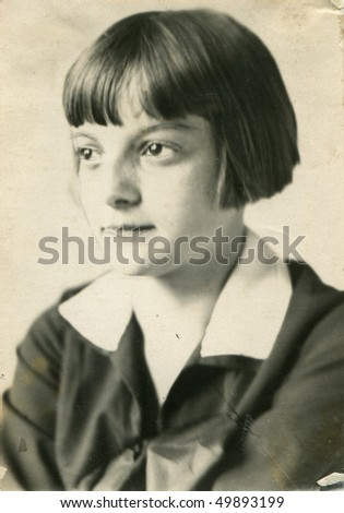 Vintage portrait of young girl with original retouching (circa 1924)