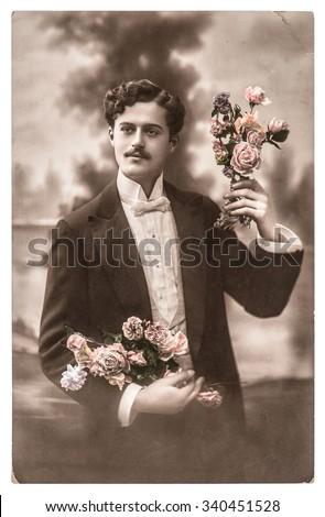 vintage portrait of young man...