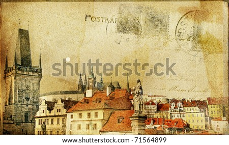 vintage post card series- cities- Prague