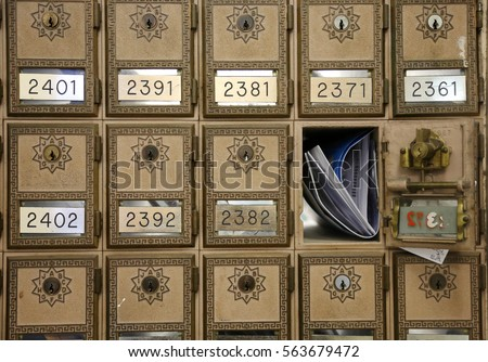 vintage post office boxes with...