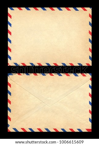 vintage postage envelope on a black background, message, air mail #1006615609