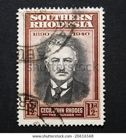 vintage postage stamp of Cecil John Rhodes, founder of Rhodesia former Zimbabwe