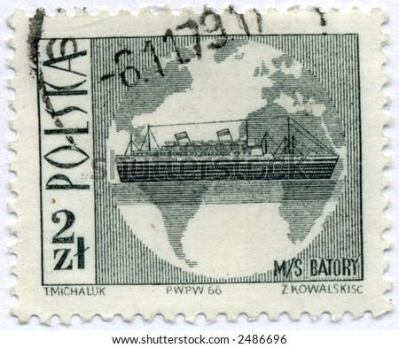 vintage postage stamp world ephemera poland - stock photo