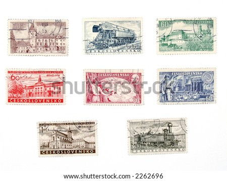 Vintage postage stamps from no longer existing country - Czechoslovakia (Ceskoslovensko). Former soviet block collectible.
