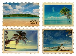 Vintage postage stamps with tropical palms and island