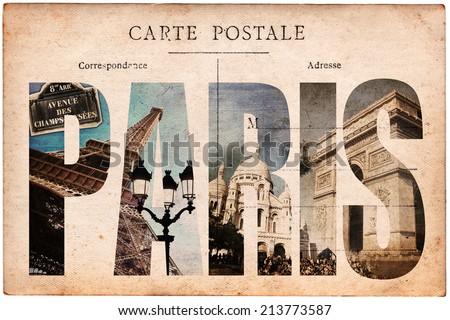Vintage postcard, letters PARIS