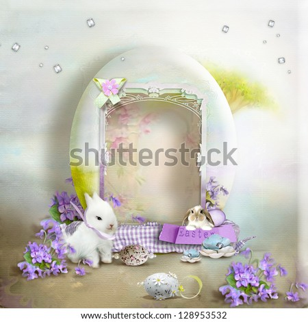 Vintage postcard, on a gentle background of eggs and cute rabbits - stock photo