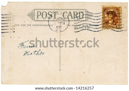 Vintage postcard with a stamp. Room to add your own message.