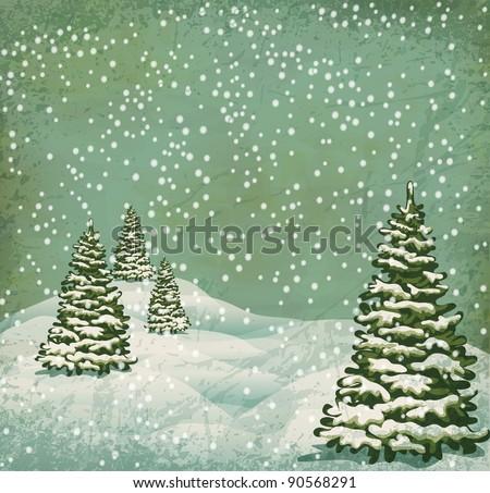 vintage postcard with Christmas trees, snow (JPEG version)