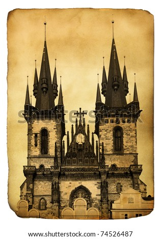 vintage postcard with church of ...