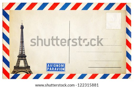 Vintage postcard with Eiffel tower isolated on white