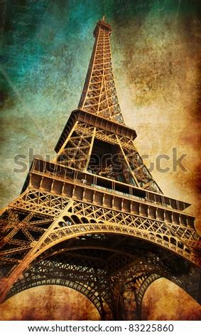 Vintage postcard with Eiffel tower, Paris, France