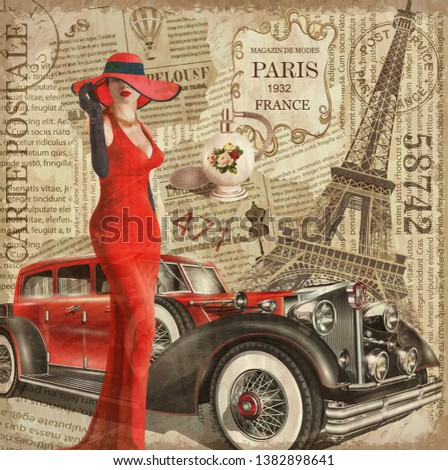 Vintage poster Paris torn newspaper background. с флаконом