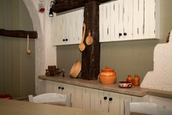 Vintage pottery in old kitchen