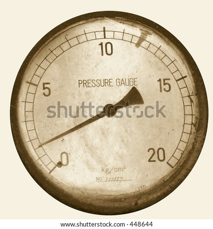 Vintage Pressure Gauge -- from an old steam engine