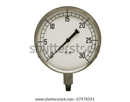 vintage pressure gauge with clipping path at this size