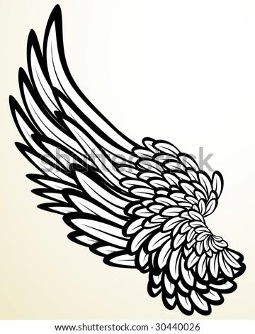 Vintage print: wing (version vector 24860773) - stock photo