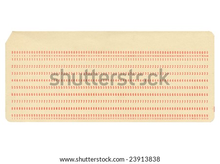 Vintage punched card for computer data storage - stock photo