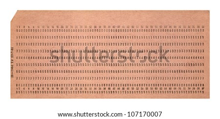 vintage punched card isolated on white background, retro technology details