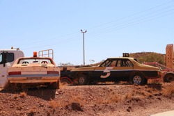 vintage race cars at an outback Australian Speedway
