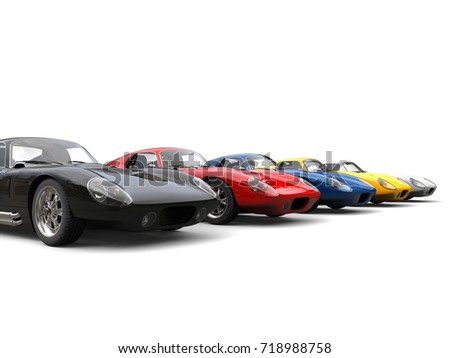 Vintage race cars in starting positions - 3D Illustration #718988758