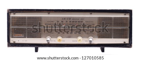 vintage radio antique isolated on white background