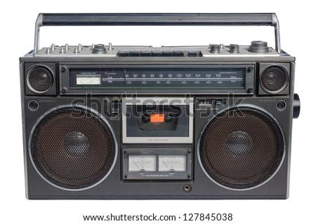 Vintage radio cassette recorder, isolated on white