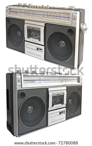 Vintage radio cassette recorder, isolated on white background, set