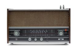 vintage radio isolate is on white background