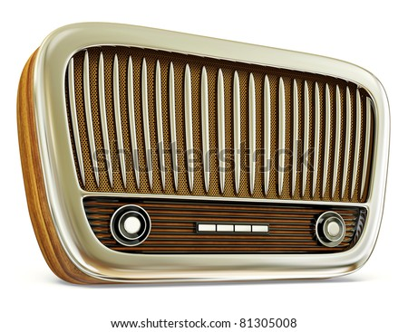 vintage radio isolated on a white background