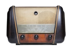 vintage radio isolated on the white background