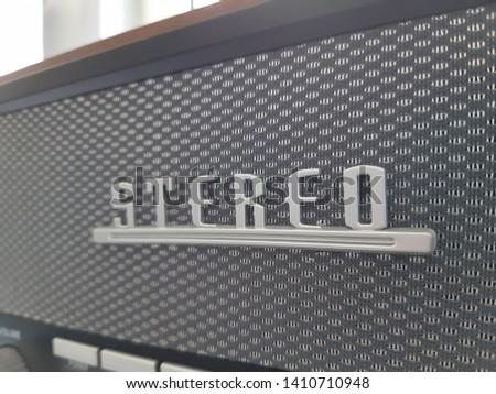 Vintage radio loudspeaker in stereo