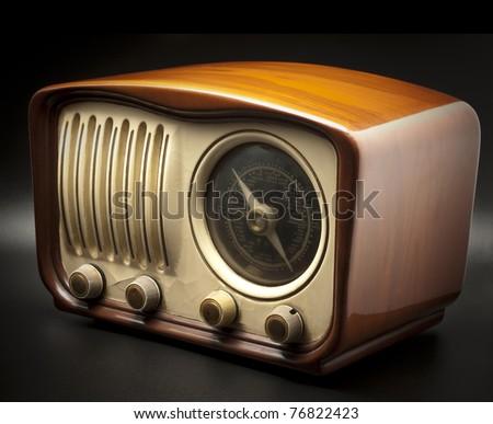Vintage Radio on a black background