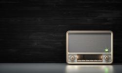 Vintage radio on a black wood background 3d illustration