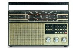 Vintage radio on a white background. Isolated.