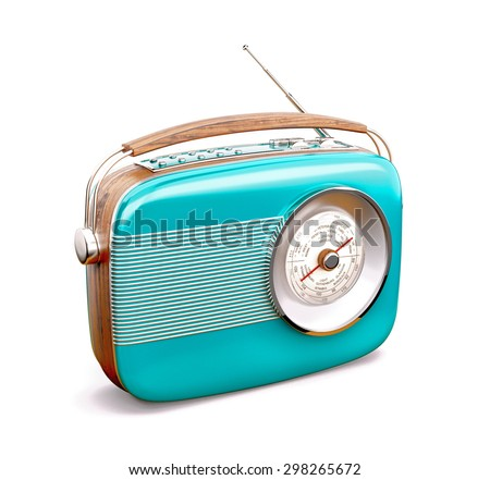 Vintage radio on white background