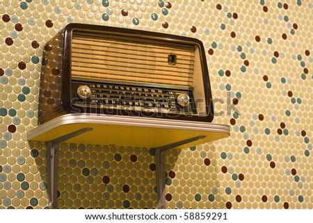 vintage radio on yellow background