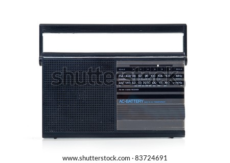 Vintage radio over white background.
